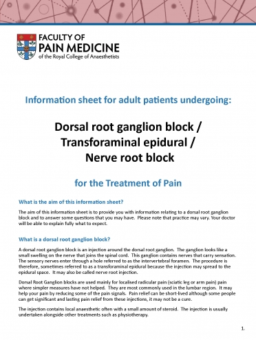 Cover image of patient information leaflet for dorsal root ganglion block