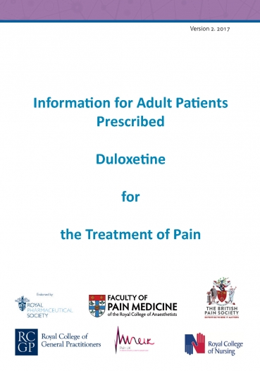 Cover image of patient information leaflet for duloxetine