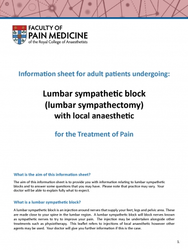 Cover image of patient information leaflet for lumbar sympathetic block