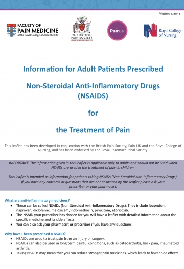 Document cover of patient information leaflet for NSAIDs
