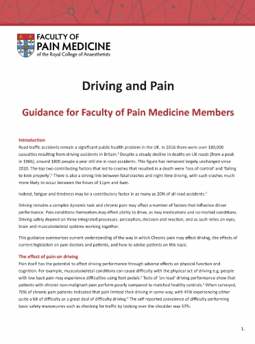 Cover image of guidance for members on driving and pain