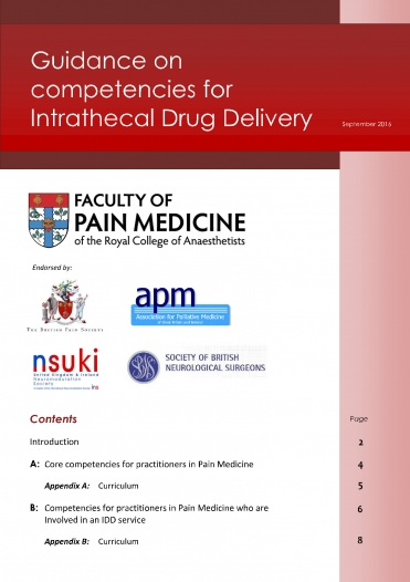 Cover image of guidance for competencies for intrathecal drug delivery