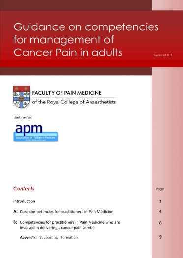 Cover image of guidance on competencies for cancer pain