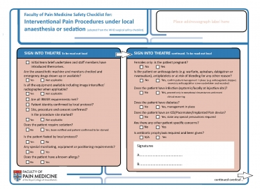 Cover image of Safety checklist for interventional pain procedures under local anaesthetic or sedation